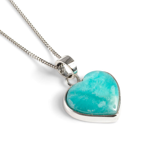 Rare Peruvian Amazonite Heart Necklace - Natural Designer Gemstone