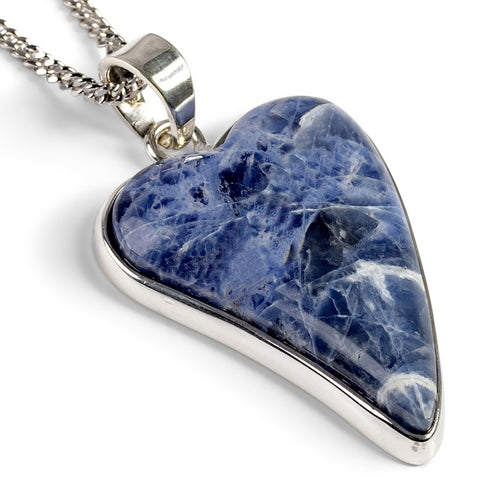 Natural Sodalite Heart Necklace - Natural Designer Gemstone