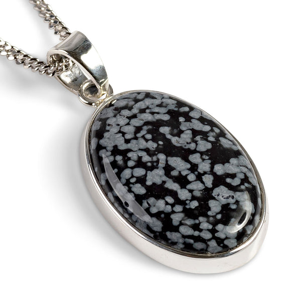 Natural Snowflake Obsidian Necklace - Natural Designer Gemstone