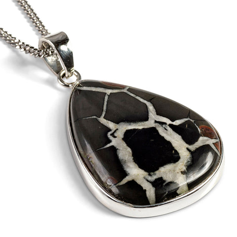 Spider Black Septarian Gemstone Necklace - Natural Designer Gemstone