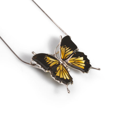 Giant Swallowtail Butterfly / Large Butterfly Necklace in Silver and Amber