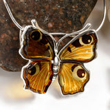Small Peacock Butterfly Necklace in Silver and Amber