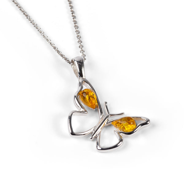 Small Butterfly Necklace in Silver & Yellow Amber