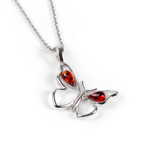 Small Butterfly Necklace in Silver and Amber