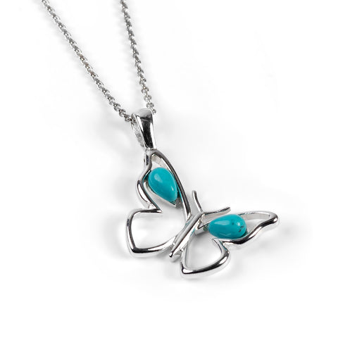 Small Butterfly Necklace in Silver and Turquoise