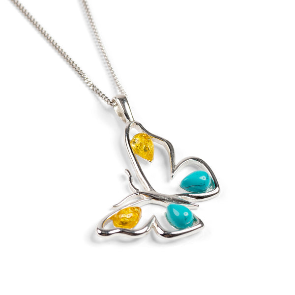 Large Butterfly Necklace in Silver, Turquoise and Amber