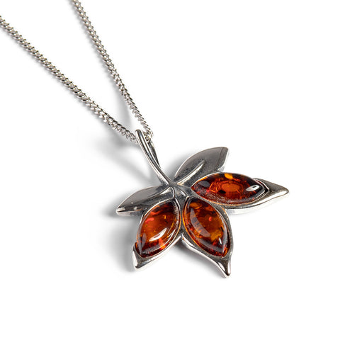 Maple Leaf Necklace in Silver and Cognac Amber