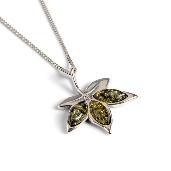 Maple Leaf Necklace in Silver and Green Amber