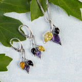 Beech Leaf Earrings in Silver, Amethyst and Amber