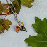 Beech Leaf Necklace in Silver and Amber