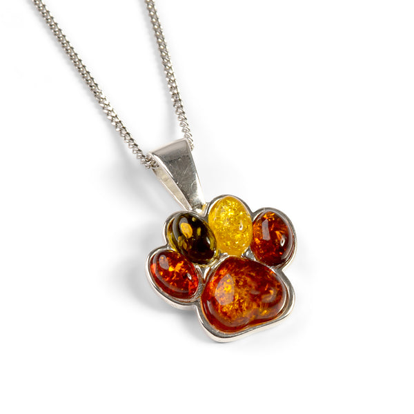 Paw Print Charm Necklace in Silver and Amber