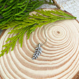 Royal Fern Leaf Necklace in Silver
