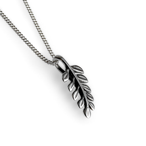 Miniature Royal Fern Leaf Necklace in Silver