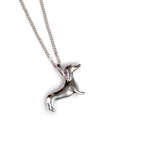 Miniature Sausage Dog Necklace in Silver