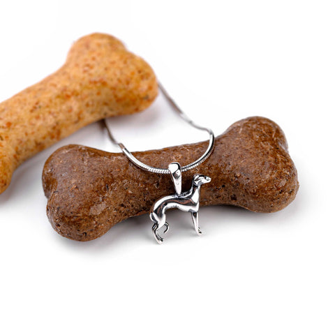 Miniature Greyhound Dog Necklace in Silver