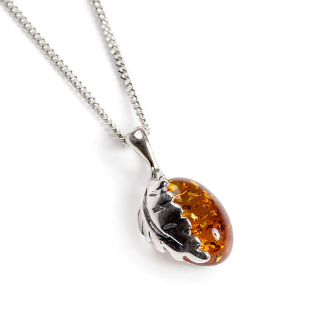 Oak Leaf Necklace Crafted in Silver and Amber