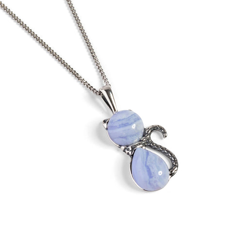 Cute Cat Necklace in Blue Lace Agate & Silver