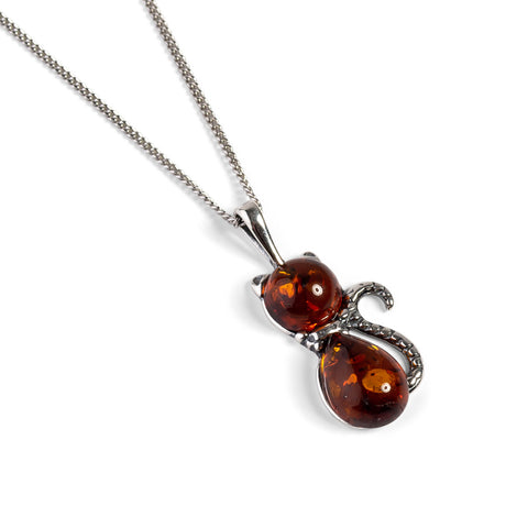 Cute Cat Necklace in Cognac Amber & Silver