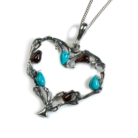 Tree of Love Necklace in Silver, Turquoise and Cherry Amber