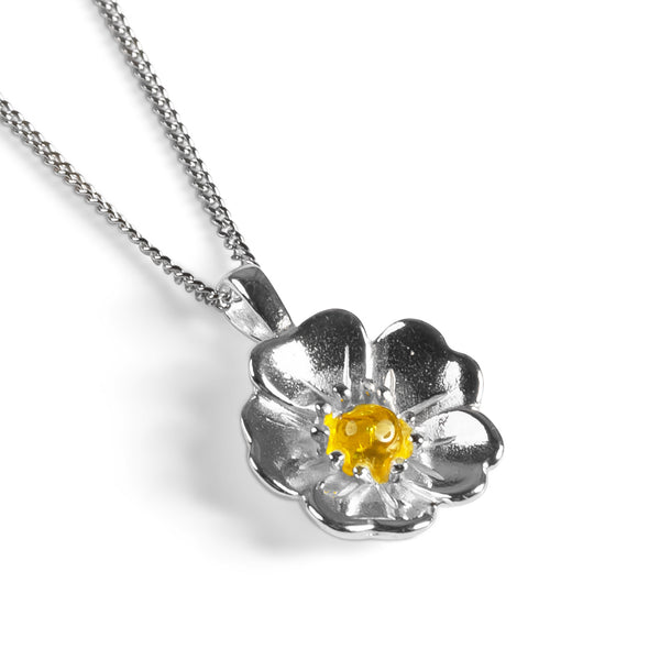 Beautiful Buttercup Necklace in Silver and Yellow Amber