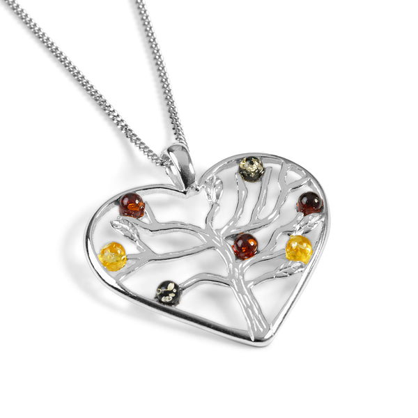 Symbol of Love Heart Necklace in Silver and Amber
