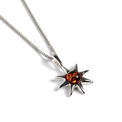 Symbol of Hope Sun Necklace in Silver and Amber