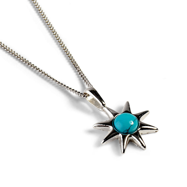Symbol of Hope Sun Necklace in Silver and Turquoise