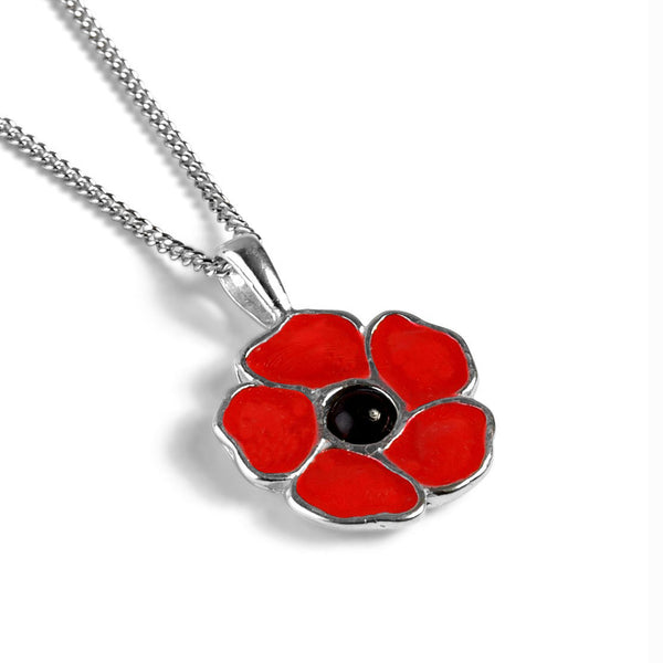 Hand-Painted Poppy Flower Necklace in Silver and Amber