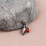 Miniature Robin Necklace in Silver and Coral