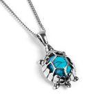 Turtle / Tortoise Necklace in Silver and Turquoise