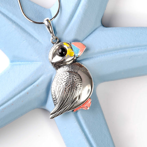 Large Puffin Bird Necklace in Silver and Amber