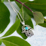Hamsa Hand Necklace in Silver and Turquoise