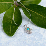 Miniature Hamsa Hand Necklace in Silver and Turquoise