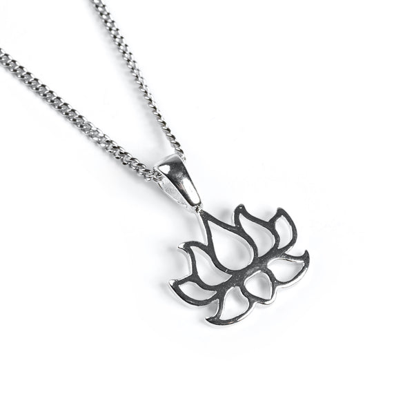 Lotus Flower Necklace in Silver