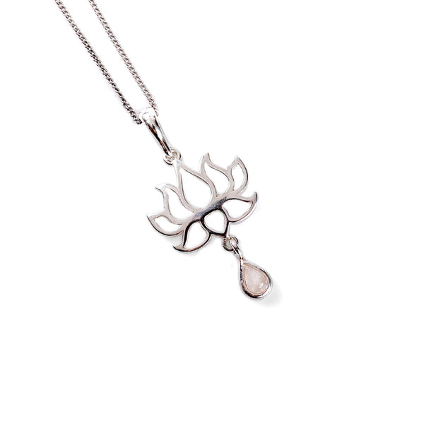 Lotus Flower Necklace in Silver and Rose/Pink Quartz