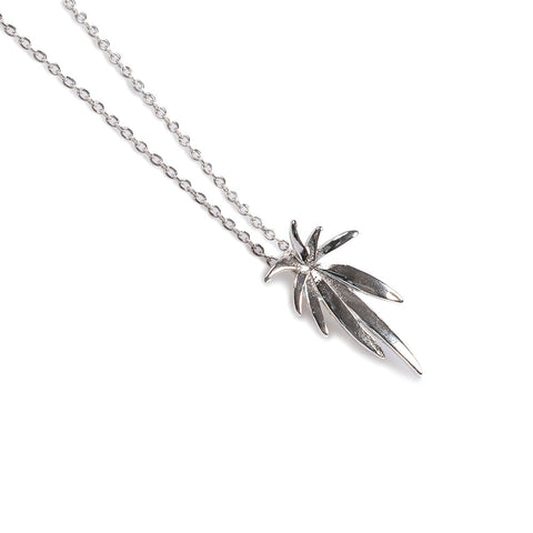 Palm Burst Necklace in Silver