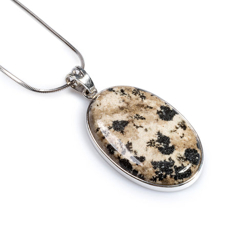 Large Oval Statement Necklace in Silver and Dalmatian Jasper