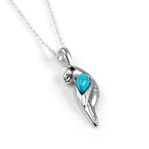 Miniature Parrot Necklace in Turquoise & Silver