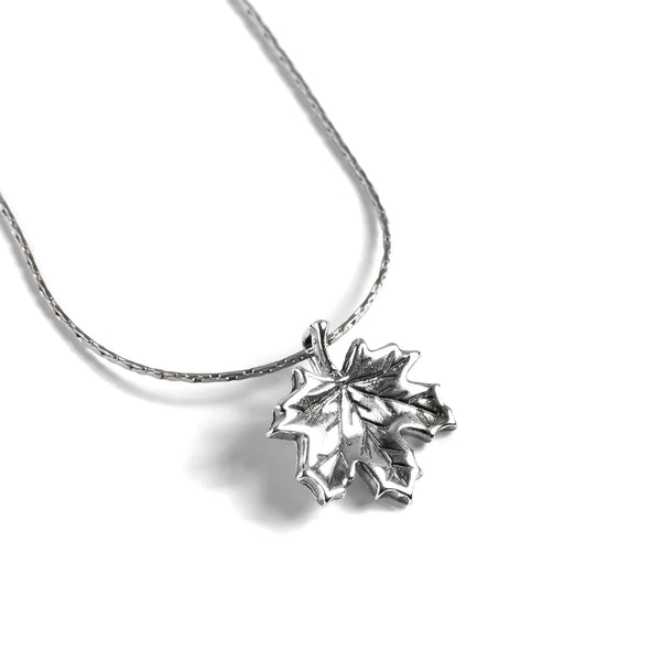 Maple Leaf Necklace in Silver