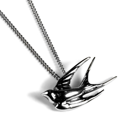 Miniature Swallow Necklace in Silver
