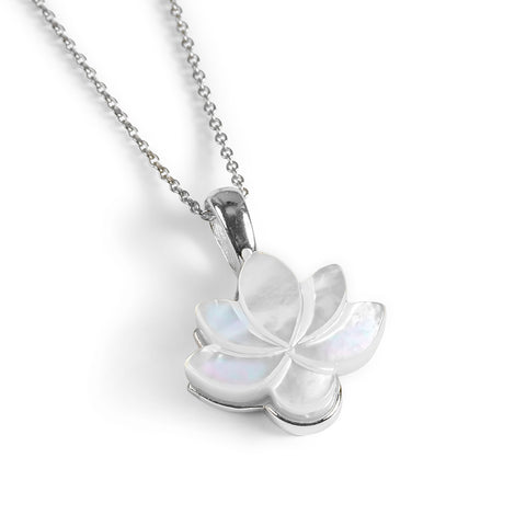 Lotus Flower Necklace in Silver and Mother of Pearl