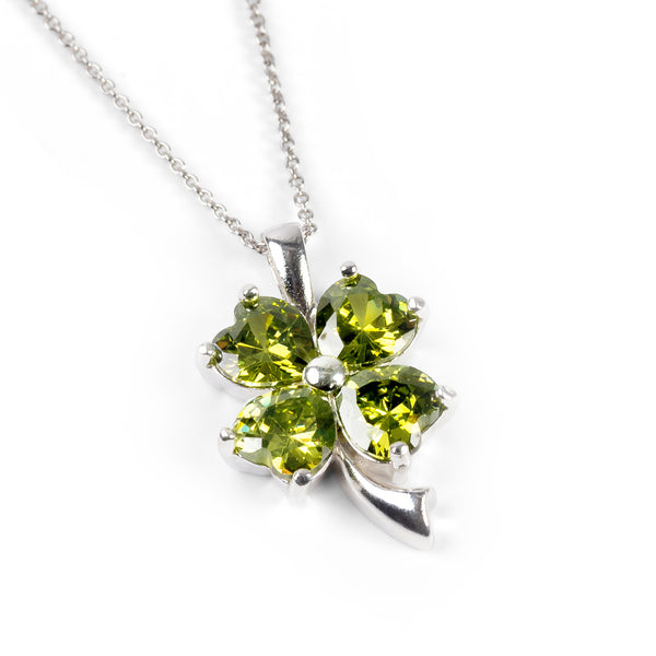 Four Leaf Clover Necklace in Silver and Green Cubic Zirconia