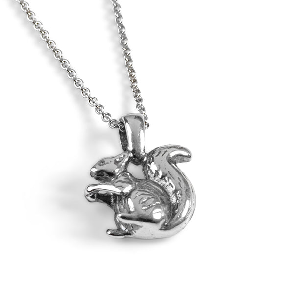 Miniature Squirrel Necklace in Silver