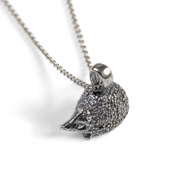 Miniature Hedgehog Necklace in Silver