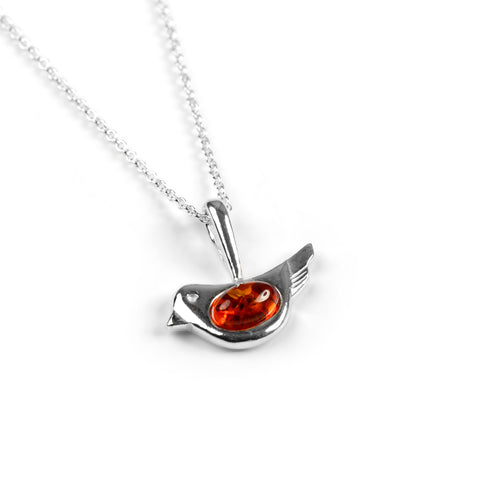 Cute Bird Necklace in Silver and Amber