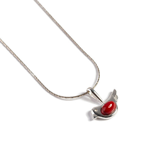 Cute Bird Necklace in Silver and Turquoise