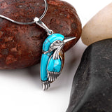 Small Kingfisher Bird Necklace in Silver, Turquoise and Amber