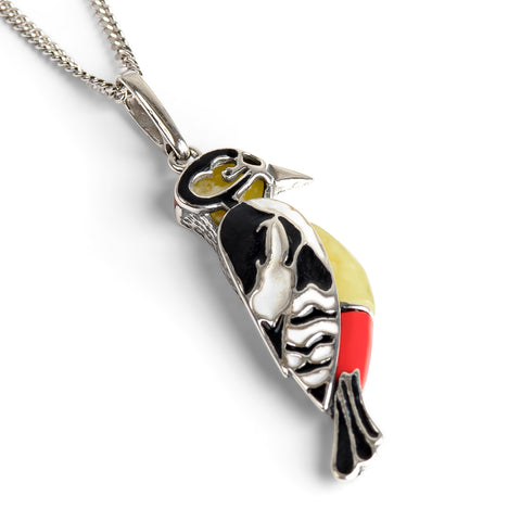 Great Spotted Woodpecker Bird Necklace in Silver and Amber
