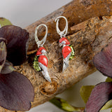 Tropical Parrot Earrings in Silver, Coral and Green Amber