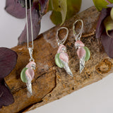Tropical Pink and Green Parrot Necklace in Silver